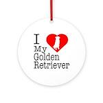I Love My Golden Retriever Ornament (Round)