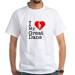I Love My Great Dane White T-Shirt
