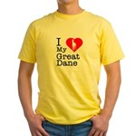 I Love My Great Dane Yellow T-Shirt