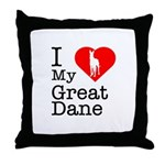 I Love My Great Dane Throw Pillow
