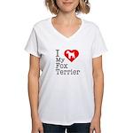 I Love My Fox Terrier Women's V-Neck T-Shirt