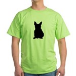French Bulldog Silhouette Green T-Shirt