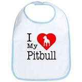 I Love My Pitbull Terrier Bib