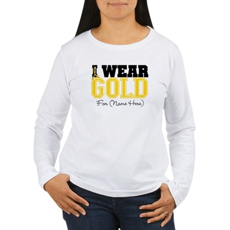 Custom Childhood Cancer Women's Long Sleeve T-Shir