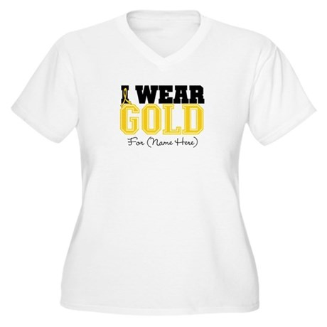 Custom Childhood Cancer Women's Plus Size V-Neck T