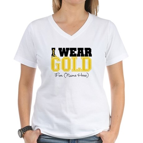 Custom Childhood Cancer Women's V-Neck T-Shirt