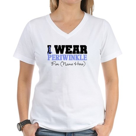 Custom Esophageal Cancer Women's V-Neck T-Shirt