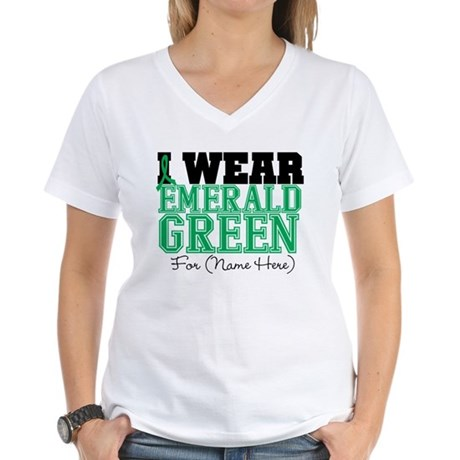 Custom Liver Cancer Women's V-Neck T-Shirt