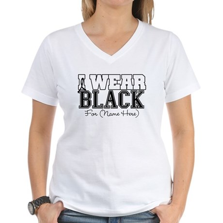 Custom Melanoma Women's V-Neck T-Shirt
