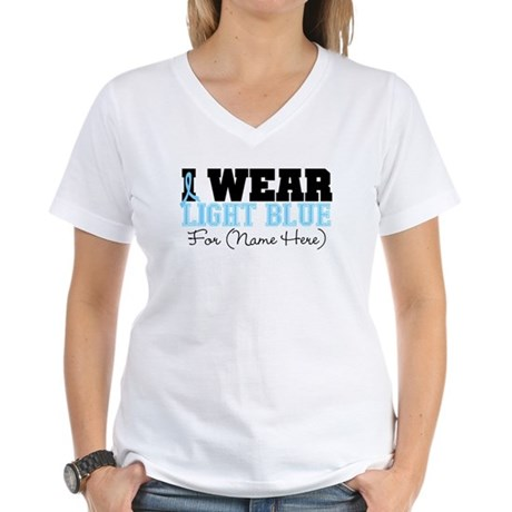 Custom Prostate Cancer Women's V-Neck T-Shirt