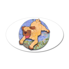Baby Pug 38.5 x 24.5 Oval Wall Peel