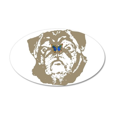 Pug and Butterfly 22x14 Oval Wall Peel