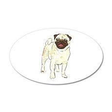 Happy Pug 22x14 Oval Wall Peel