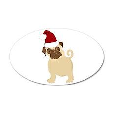 Santa Pug 38.5 x 24.5 Oval Wall Peel
