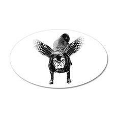 Pug Angel 38.5 x 24.5 Oval Wall Peel