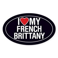 I Love My French Brittany Oval Sticker/Decal