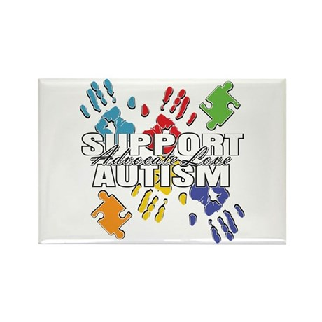 Support Autism Handprints Rectangle Magnet