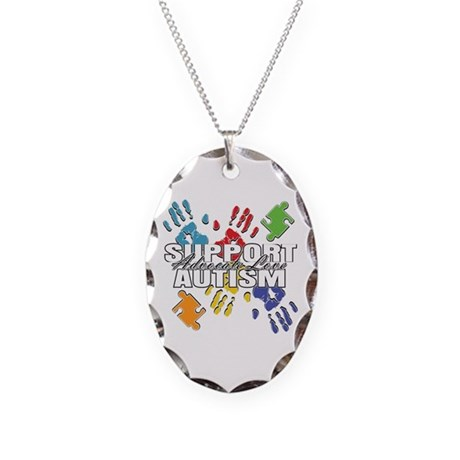 Support Autism Handprints Necklace Oval Charm