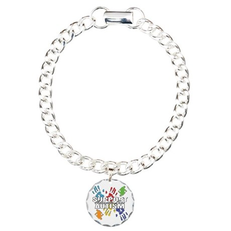 Support Autism Handprints Charm Bracelet, One Char