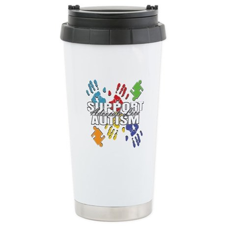 Support Autism Handprints Ceramic Travel Mug