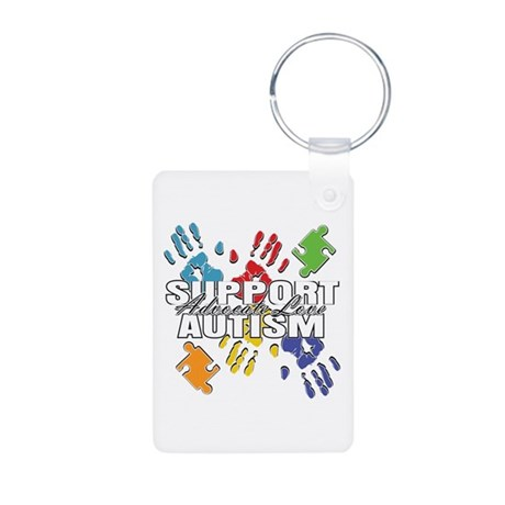 Support Autism Handprints Aluminum Photo Keychain