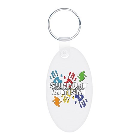 Support Autism Handprints Aluminum Oval Keychain
