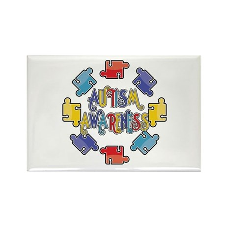 Autism Awareness Puzzles Rectangle Magnet
