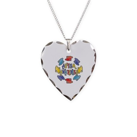 Autism Awareness Puzzles Necklace Heart Charm
