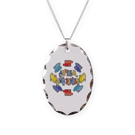 Autism Awareness Puzzles Necklace Oval Charm