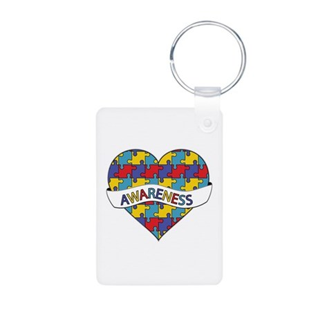 Autism Awareness Heart Aluminum Photo Keychain