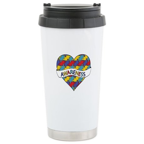 Autism Awareness Heart Ceramic Travel Mug