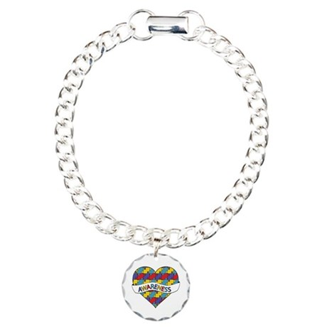 Autism Awareness Heart Charm Bracelet, One Charm