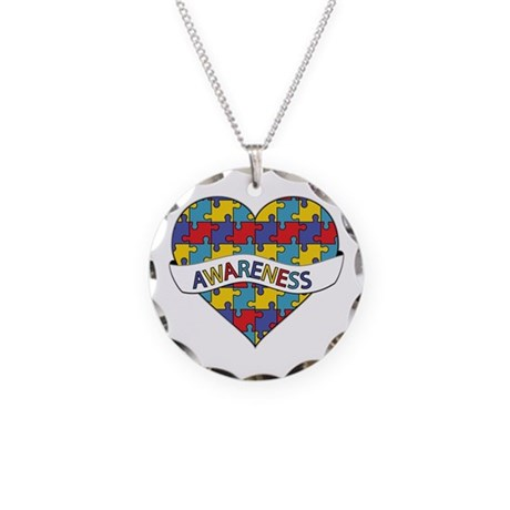 Autism Awareness Heart Necklace Circle Charm