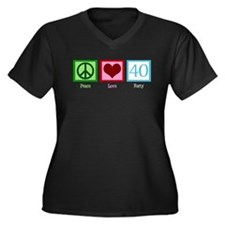 Peace Love 40 Women's Plus Size V-Neck Dark T-Shir