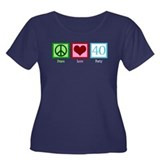 Peace Love 40 Women's Plus Size Scoop Neck Dark T-