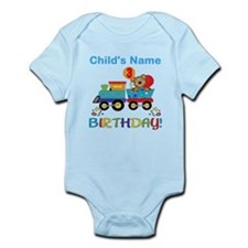 birthday bear train custom Infant Bodysuit