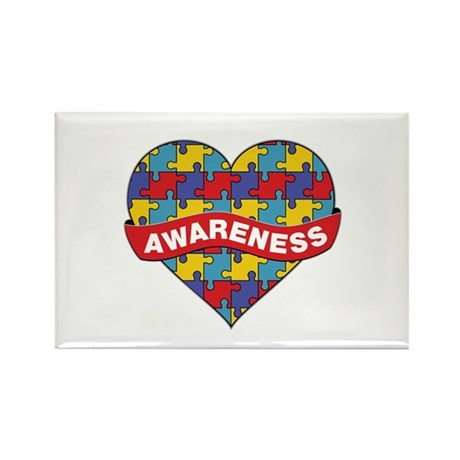 Autism Awareness Heart Rectangle Magnet