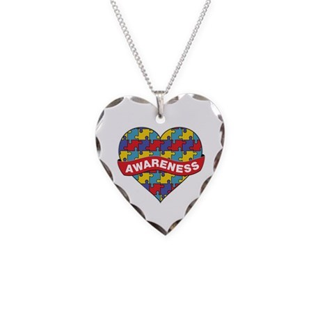 Autism Awareness Heart Necklace Heart Charm