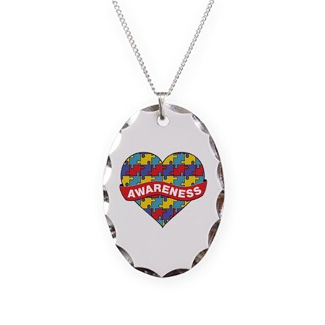 Autism Awareness Heart Necklace Oval Charm