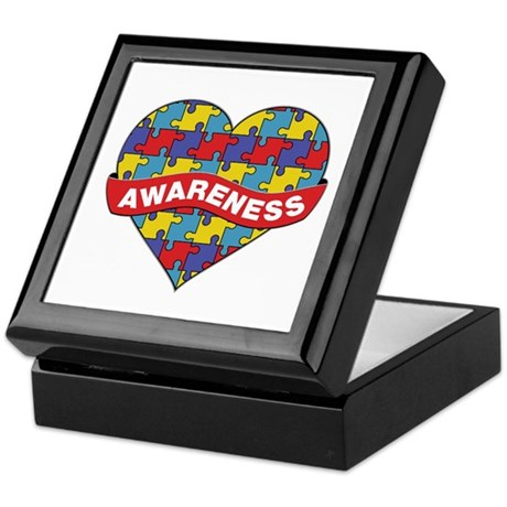 Autism Awareness Heart Keepsake Box