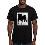 Pug Silhouette Men's Fitted T-Shirt (dark)