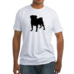 Pug Silhouette Fitted T-Shirt