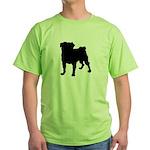 Pug Silhouette Green T-Shirt