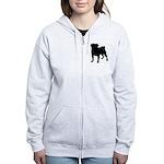 Pug Silhouette Women's Zip Hoodie