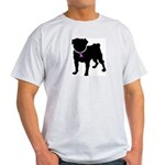 Pug Breast Cancer Support Light T-Shirt