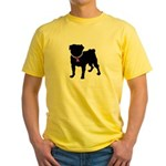 Pug Breast Cancer Support Yellow T-Shirt