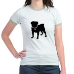 Pug Breast Cancer Support Jr. Ringer T-Shirt