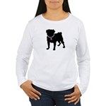 Pug Breast Cancer Support Women's Long Sleeve T-Sh