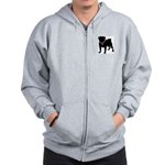 Pug Breast Cancer Support Zip Hoodie