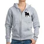 Pug Breast Cancer Support Women's Zip Hoodie